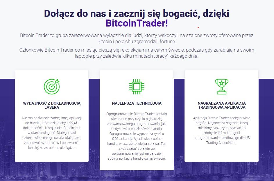 trzy kolumny zalety platformy dołącz bitcoin trader