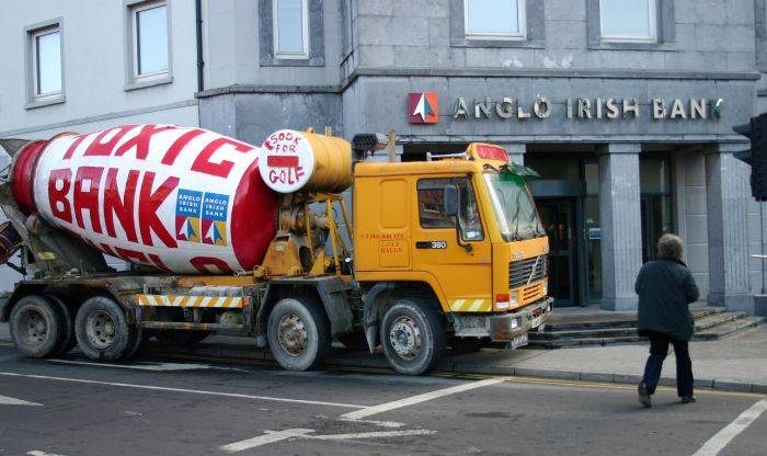 Cement truck left at Anglo Irish Bank Galway
