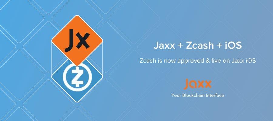 Jaxx includes ZCash, now on iOS