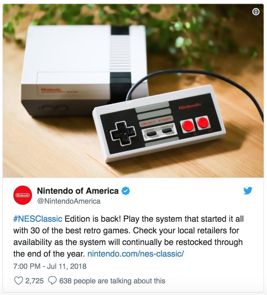 Nintendo America tweet NES Classic Edition