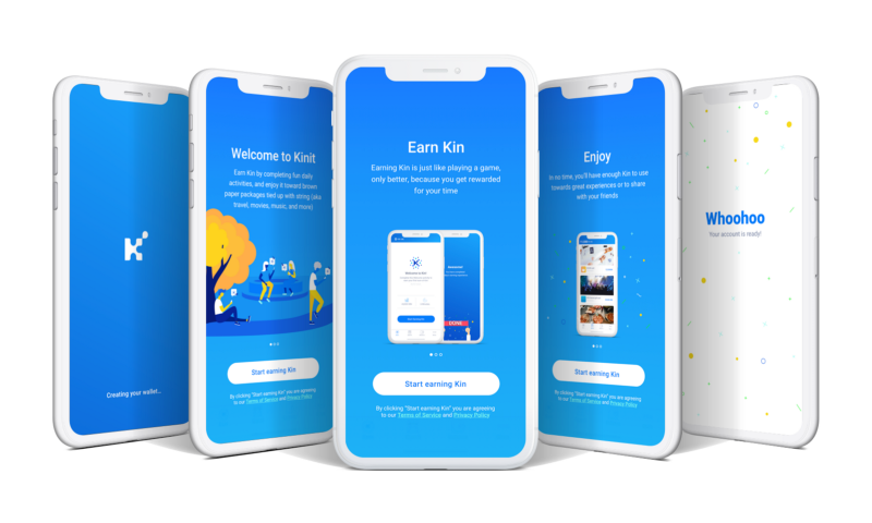 Kinit application users can set up the Kin wallet in quick simple steps while engaging in intuitive steps to earn Kin tokens.