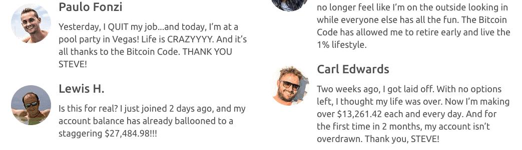 Bitcoin code user testimony