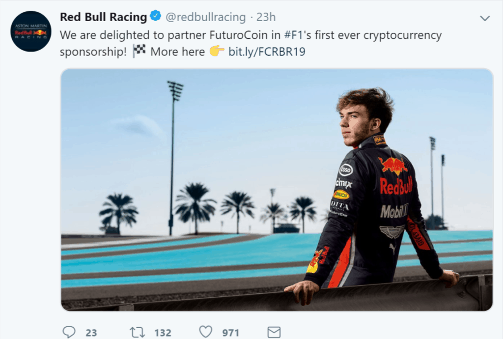 Cryptocurrency for racing sponsor