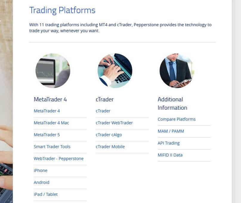 Pepperstone trading platforms