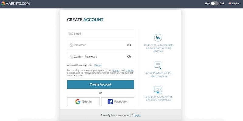 Markets.com open account
