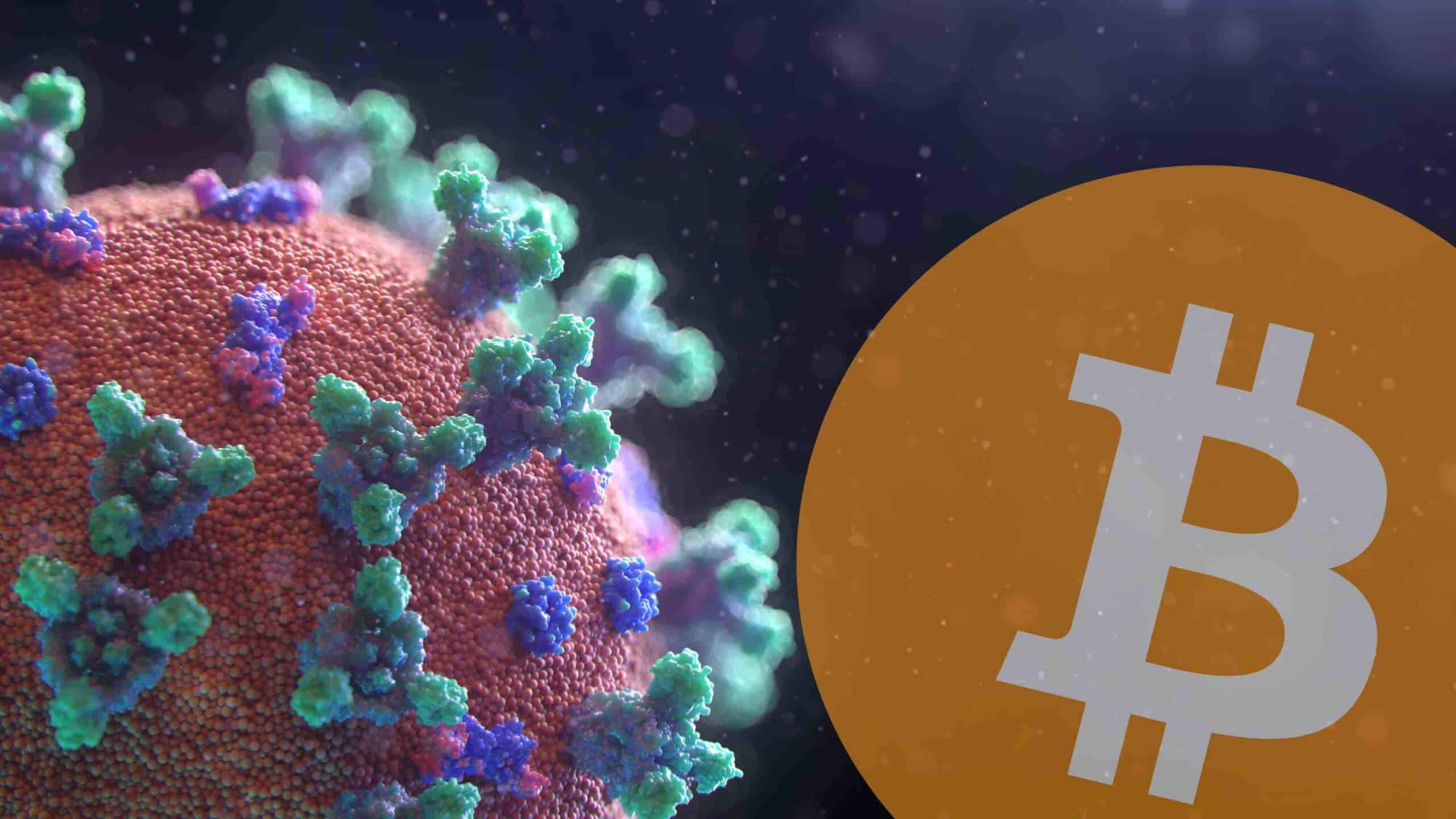 Virus and Bitcoin logo.