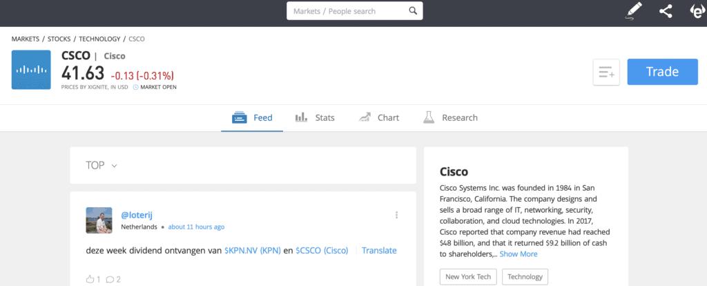 eToro Cisco