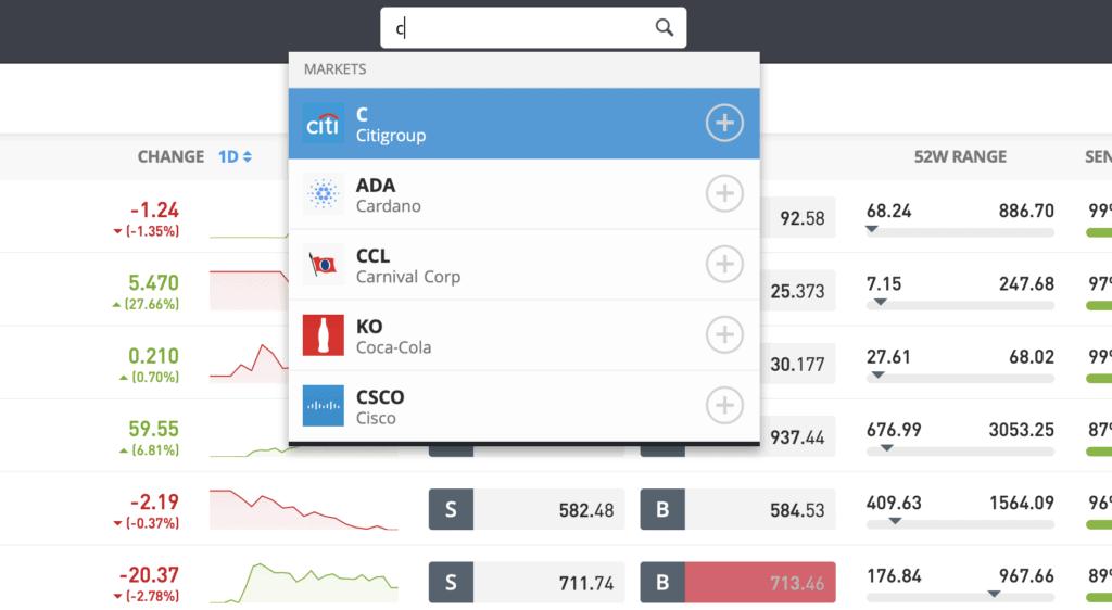 eToro Citibank search