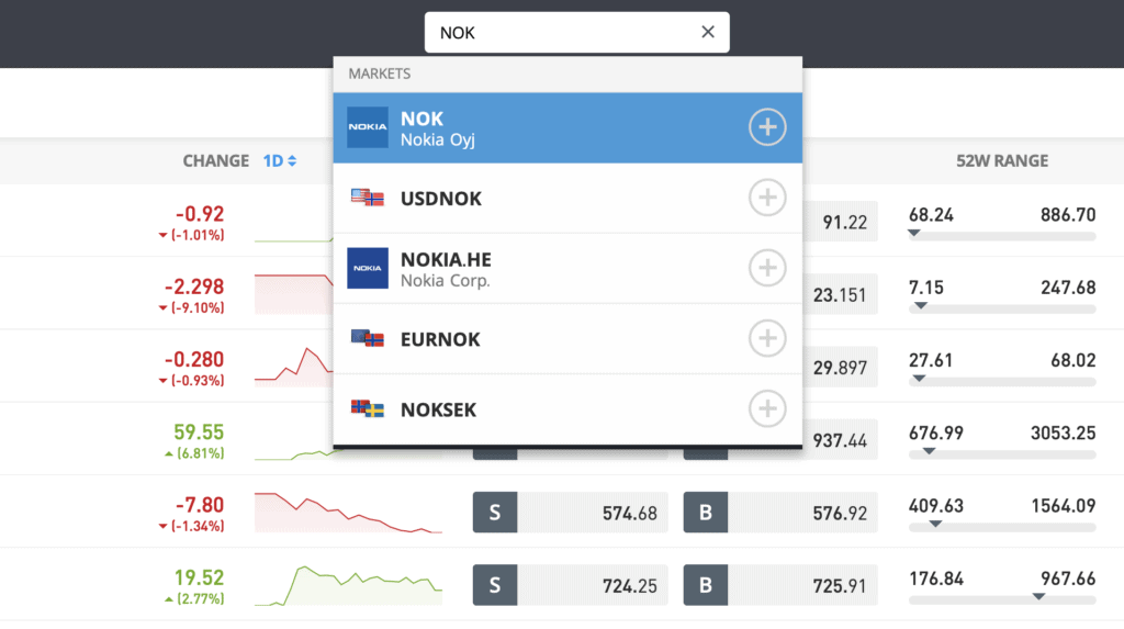 Nokia eToro search