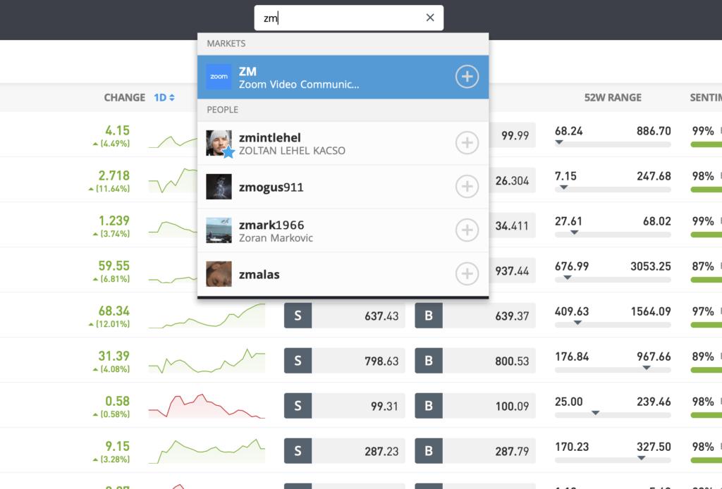 search Zoom stock eToro