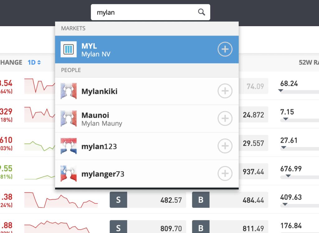 Search Mylan stock eToro