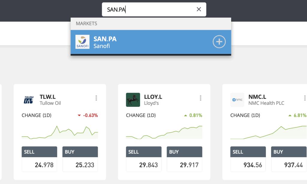 Search Sanofi stock eToro
