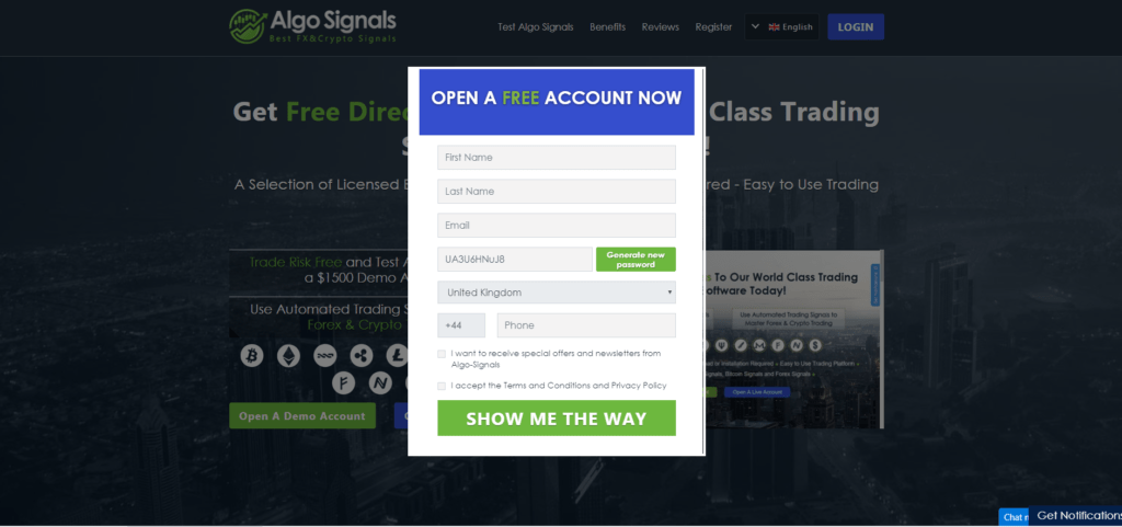 algo signals sign up