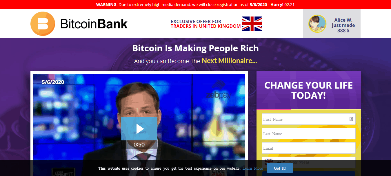 bitcoin banking site