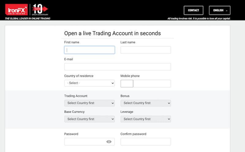 IronFX create an account