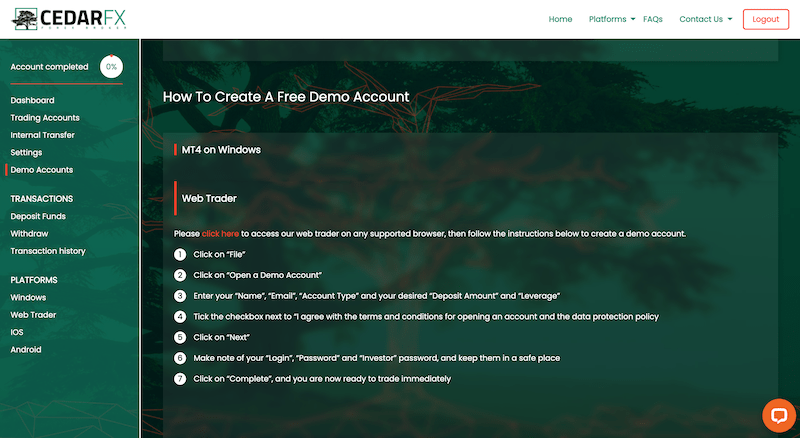CedarFX Demo Account