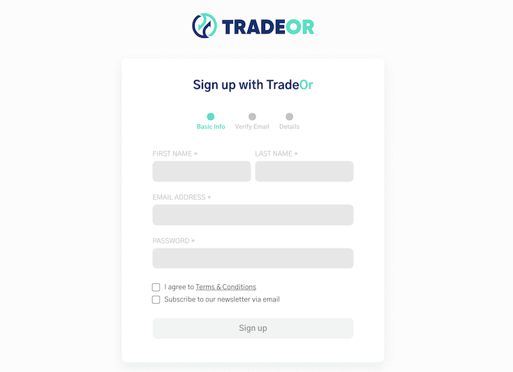 TradeOr sign up