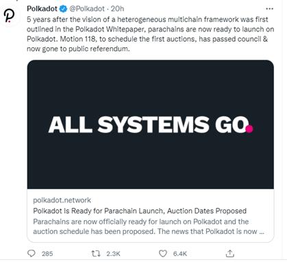 Polkadot network tweet
